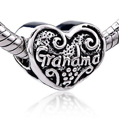 Pugster Heart Grandma Charm Bead - Pandora Beads  Charms Compatible