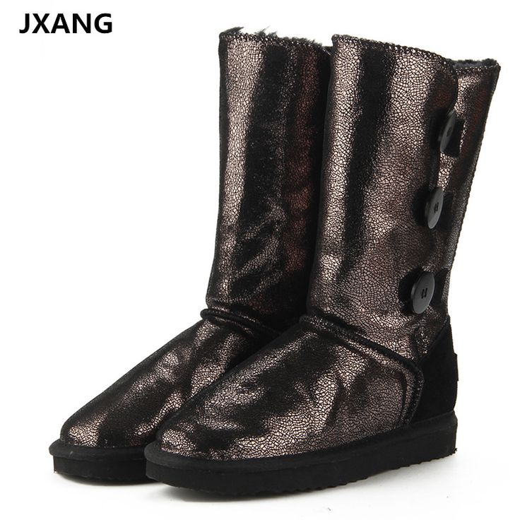 JXANG New 100% Natural Fur Winter Boots Mujer Botas Waterproof Genuine Cowhide Leather Snow Boots Warm Wool High Boots for Women