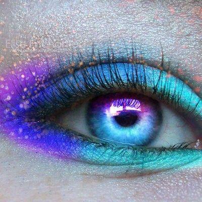 Neon Eyes. Gorgeous space eyes make me smile