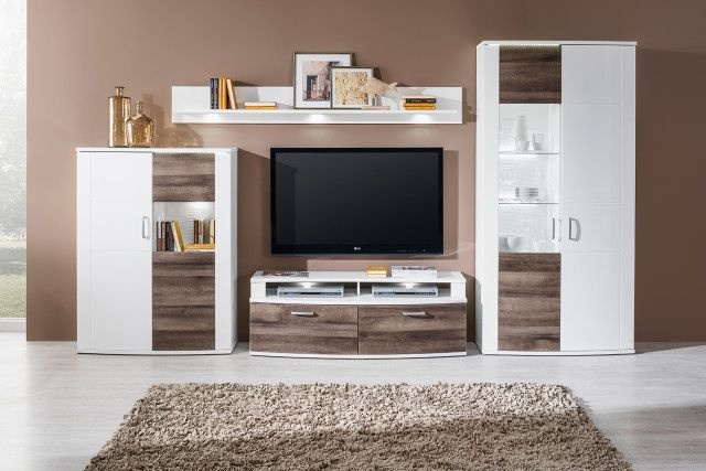 Obývačka SID / Living room SID (Biela arctic - Dub riviera vulcano rustic / White arctic - Oak vulcano rustic)