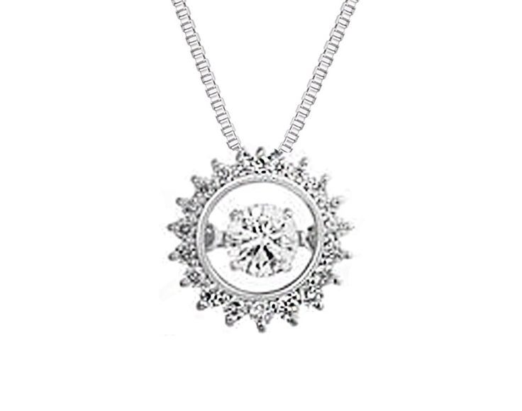 A Playful 18ct White Gold and Dancing Diamond Pendant