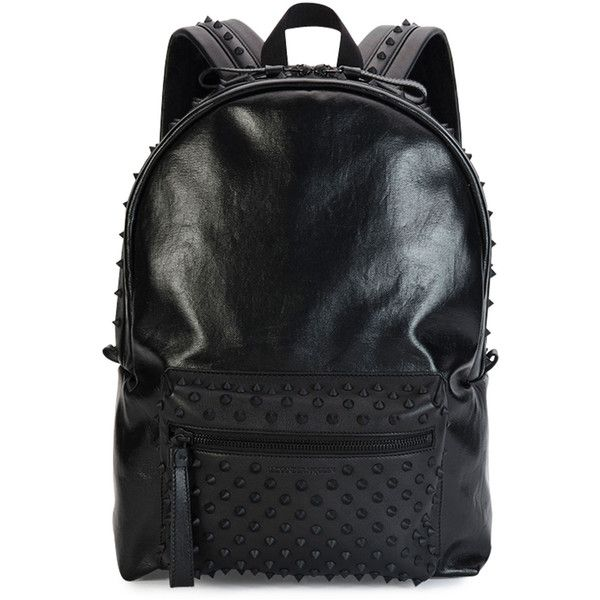 Alexander McQueen Tonal Studded Leather Backpack ($2,095) ❤ liked on Polyvore featuring bags, backpacks, black, backpacks bags, black studded backpack, leather bags, black leather bag e black rucksack