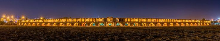 """The Si-o-seh pol, officially known as Allāhverdi Khan Bridge (in English """"The bridge of thirty-three spans"""" is a bridge located in Isfahan, Iran and one of the city landmarks. With 297.76 metres (976.9 ft) it is the longest bridge over the Zayandeh River. The bridge was constructed between 1599–1602 and ranks as one of the most famous examples of Safavid bridge design. Due to high temperatures in the region during summer the Zayandeh river is dried out until winter."""