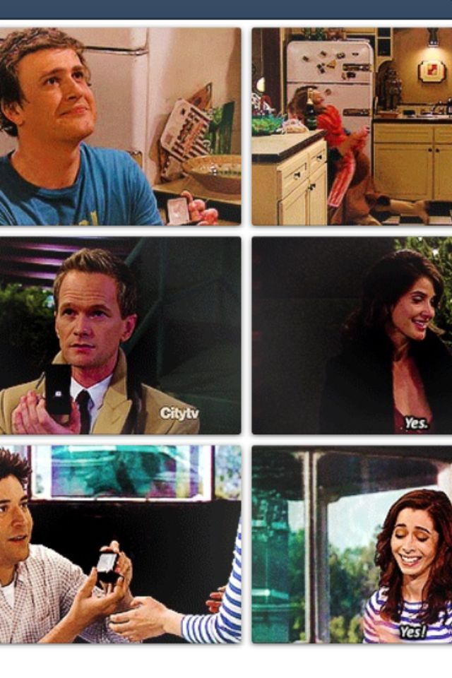 All the proposals. Ted and the mother, Barney and Robin, Marshall and Lily. #himym