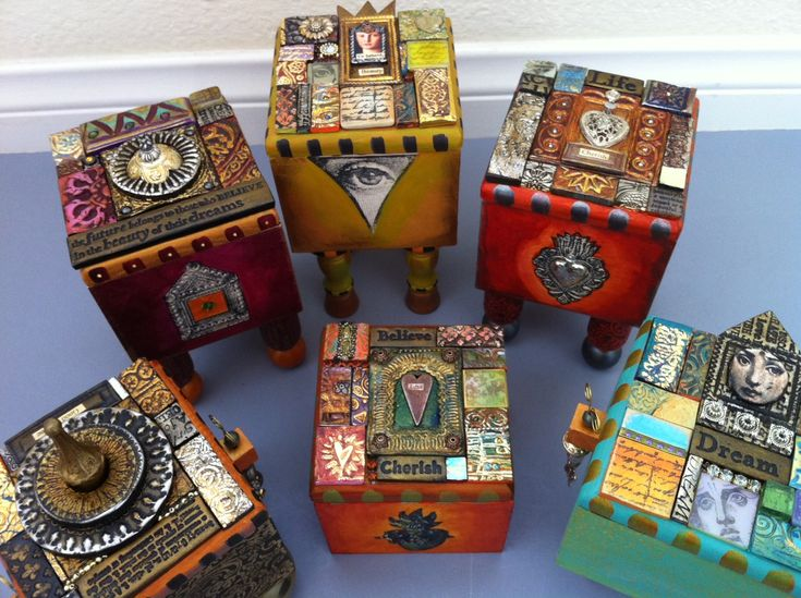 Laurie Mika-mosaic boxes these are covered with poli-clay tiles. She does lovely pieces.