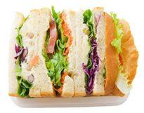 株式会社進々堂公式ウェブサイト ●豆入りポテトと人参のヴィーガンサンド  動物性の食材を一切使用していないヴィーガンサンド。キャロットラペ・グリーンリーフ・トマトと自家製レッドキャベツサラダ・豆入りポテトをサンドしました