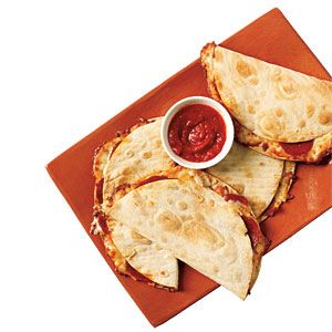 Kid-tastic Pizzadillas   MyRecipes.com I do something like this for their school lunches and they love it. These are toasted a little more than mine. I wrap mine up like a burrito with both ends tucked in so the filling doesn't spill out. JC