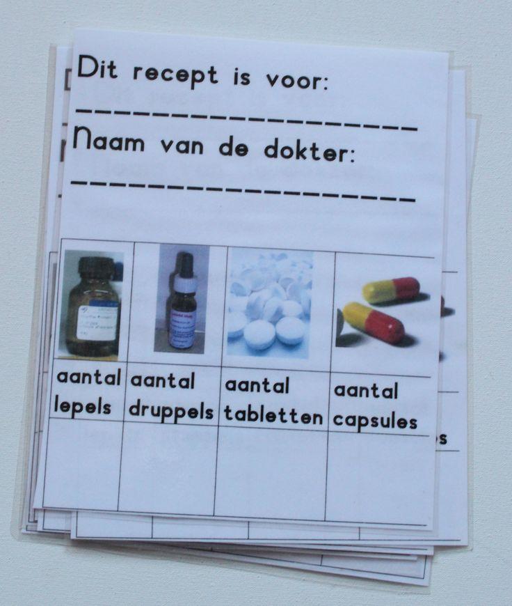 Receptkaarten van de dokter. Met stift ( uitwisbaar ) noteren wat de patient krijgt en dan naar de apotheek om het medicijn te halen.
