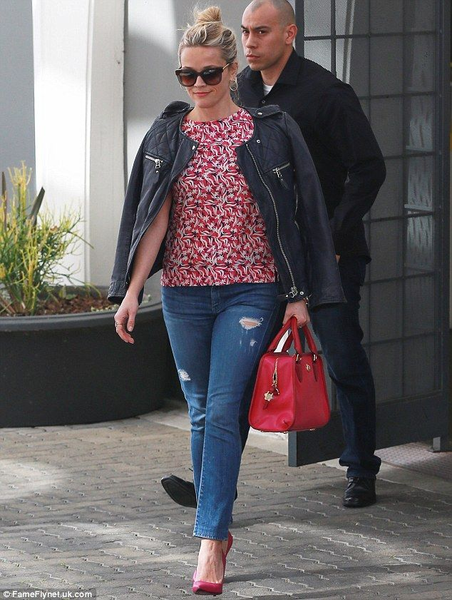 She makes her own best advert: Reese Witherspoon wore pieces from her Draper James collection as she left her office in Beverly Hills on Wednesday
