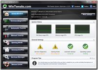 WinTweaks is an Free Windows services manager and optimizer that enables you to tweak your Windows services in an easy automatic and safe way based on the way you use this computer and which hardware and software you use. WinTweaks does not require any technical knowledge at all, as it provides easy to understand options to tune-up your system for better performance and security.