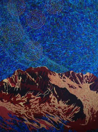 """Nightfall in the Rockies # 2"" by Artist Rhonda Lund 36 x 48"" Acrylic on Canvas; Staple back 2014 'sweeping skies at night in the Rockies"