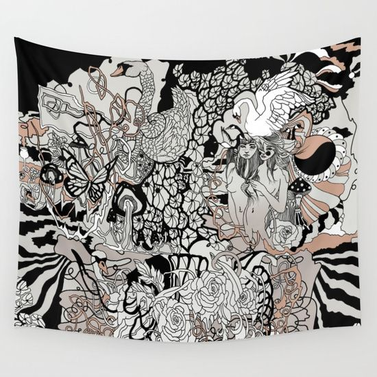 Next of Kin Wall Tapestry. #drawing #ink/pen #black-white #pattern #illustration #black-white #nature #people