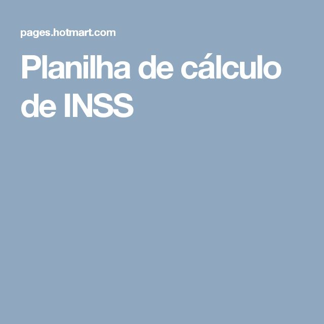 Planilha de cálculo de INSS