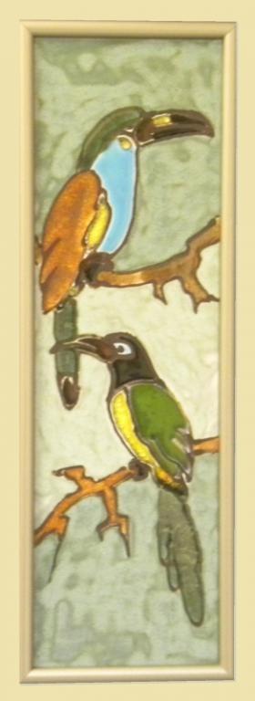 obrazek ceramiczny szkliwiony ptaki - KRAKÓW