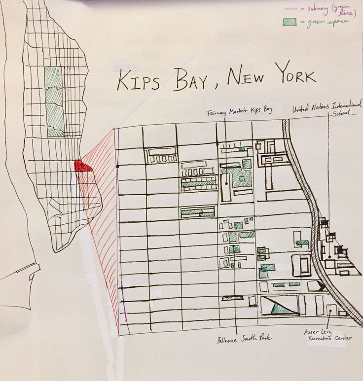 WEEK ONE: Greetings, urban designers and fellow classmates! This is a map of Kips Bay in New York, where I have recently moved. I only drew details of the blocks that contain green spaces--to emphasize how much the city lacks them. I'm interested in comparing the layout of these spaces in the different hometowns of all the students! (Note: This is a mental map.)