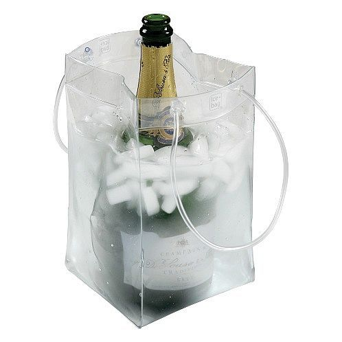 Ice BagWine/Champagne Cooler Bag with Custom Imprint is a strong and completely water-tight ice bucket ice bag.With the Ice Bag you simply drop in the bottle of wine or champagne you want chilled an