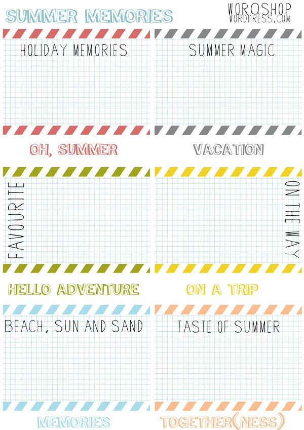 letnie wspomnienia- karty do journalingu {summer memories- 2 sets of free printable journaling cards for YOU!} |