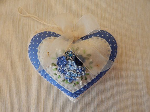 Country Spring Heart Ornament by cuoredamore on Etsy