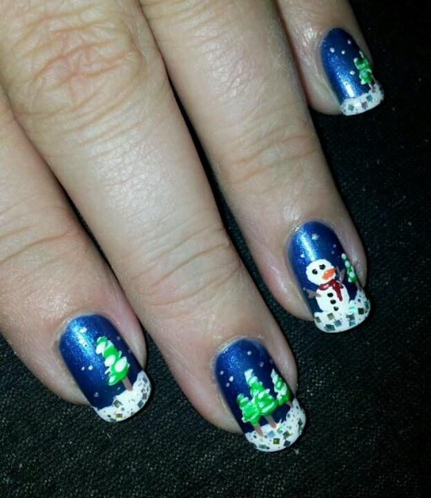 Sneeuwpop en kerstboompjes