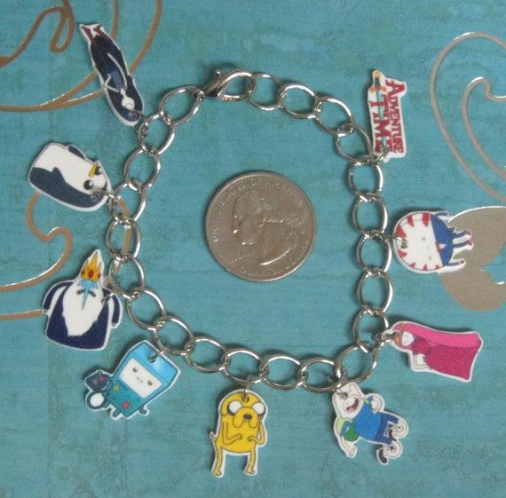"""Adventure Time BMO, Finn, Gunter, Ice King, Jake, Marceline, Peppermint Butler, Princess Bubblegum & logo bracelet with 8"""" chain"""