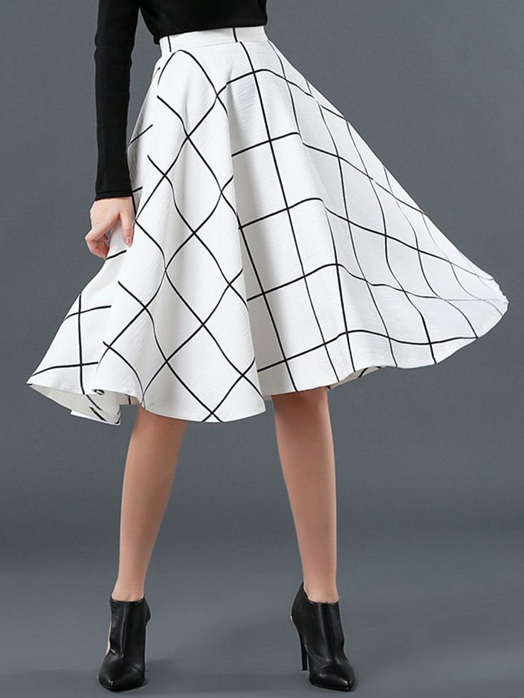 Love This Adorable White Plaid Print High Waist Skater Midi Skirt