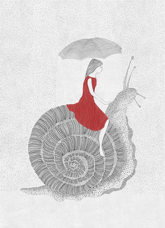Friends Girl and Snail nursery art illustration art by kucukbakkal, $25.00