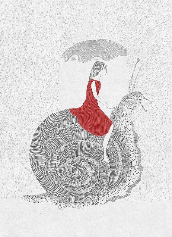 Friends Girl and snail nursery art illustration art by beyenart, $27.00