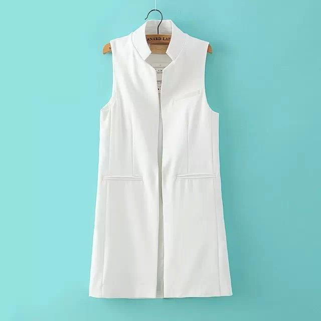 Nuevo estilo de la primavera/verano de las mujeres del collar del soporte largo traje de chaleco negro blanco azul oscuro con dos bolsillos