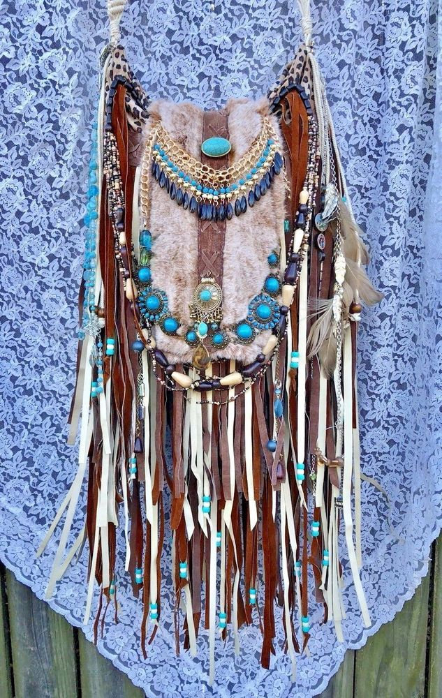 Handmade Leopard Fabric & Suede Fringe Bag OOAK Gypsy Boho Up-cycled Purse B.Joy   eBay