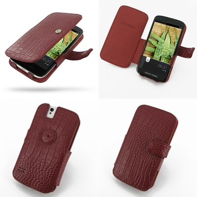 PDair Leather Case for Sharp Aquos Phone SH930W - Book Type (Red/Crocodile Pattern)