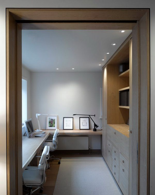 Modern Small Home Office with White Chairs and Wooden Shelves and Cabinets Small Home Office Design Ideas for Your Dreams