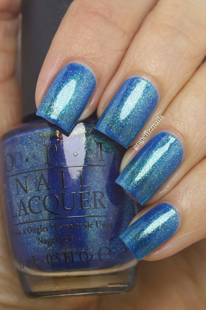 Beautiful blue shade with gold and blue flecks! The Sky's My Limit, from the OPI Ford Mustang Collection, 2014 | grape fizz nails