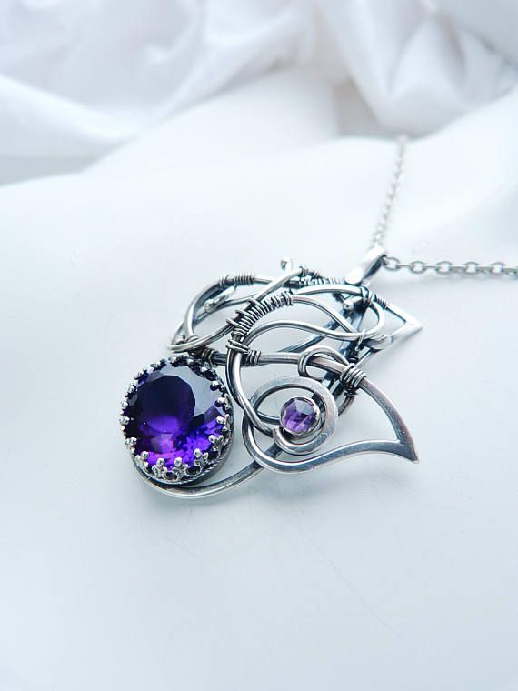 Amethyst Wings - sterling silver pendant - Amethyst necklace - wire ...