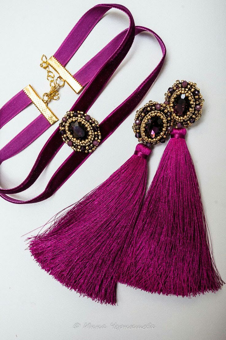 Embroidery earrings with tassels and choker. Rhinestone, seed beads, faceted glass beads, velvet ribbon.