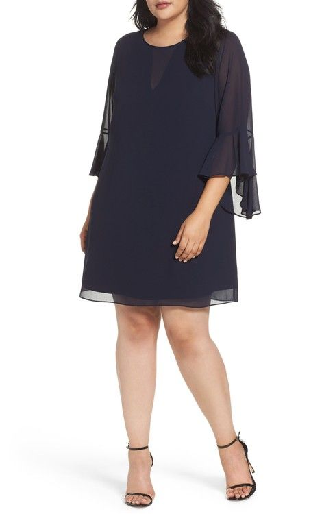 Main Image - Vince Camuto Bell Sleeve Shift Dress (Plus Size)