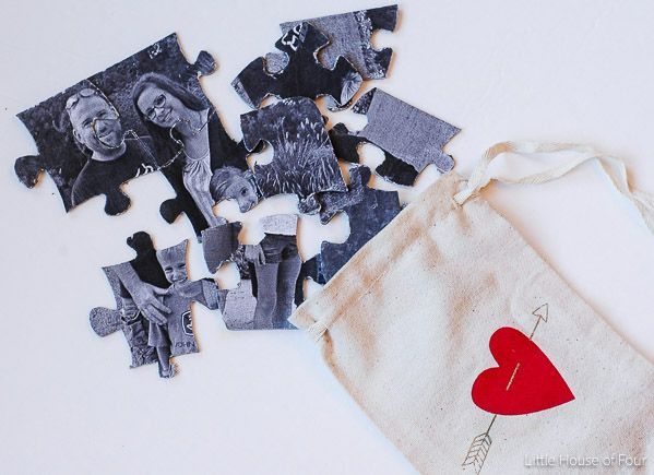Easy DOLLAR STORE DIY!!! Create a thoughtful DIY puzzle that's not only inexpensive, but personal as well. -Littlehouseoffour.com