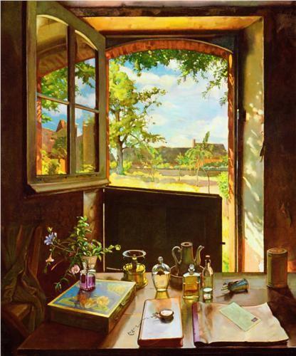 Konstantin Somov, Open Door on a Garden (1934) #pavelife #art #inspiring