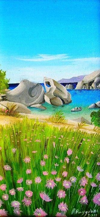 "The sea of Palau   oil on canvas panel 10""x 20"""