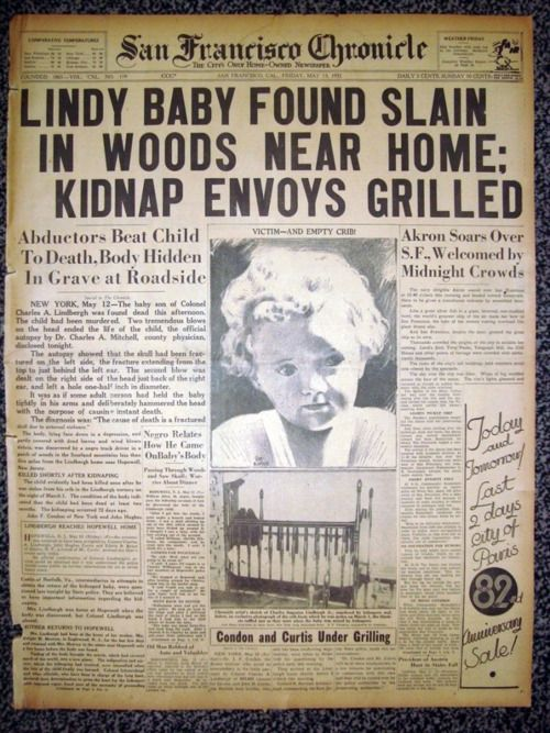 May 12, 1932:The body of aviation hero Charles Lindbergh's baby is found, more than two months after he was kidnapped from his family's Hopewell, New Jersey mansion.