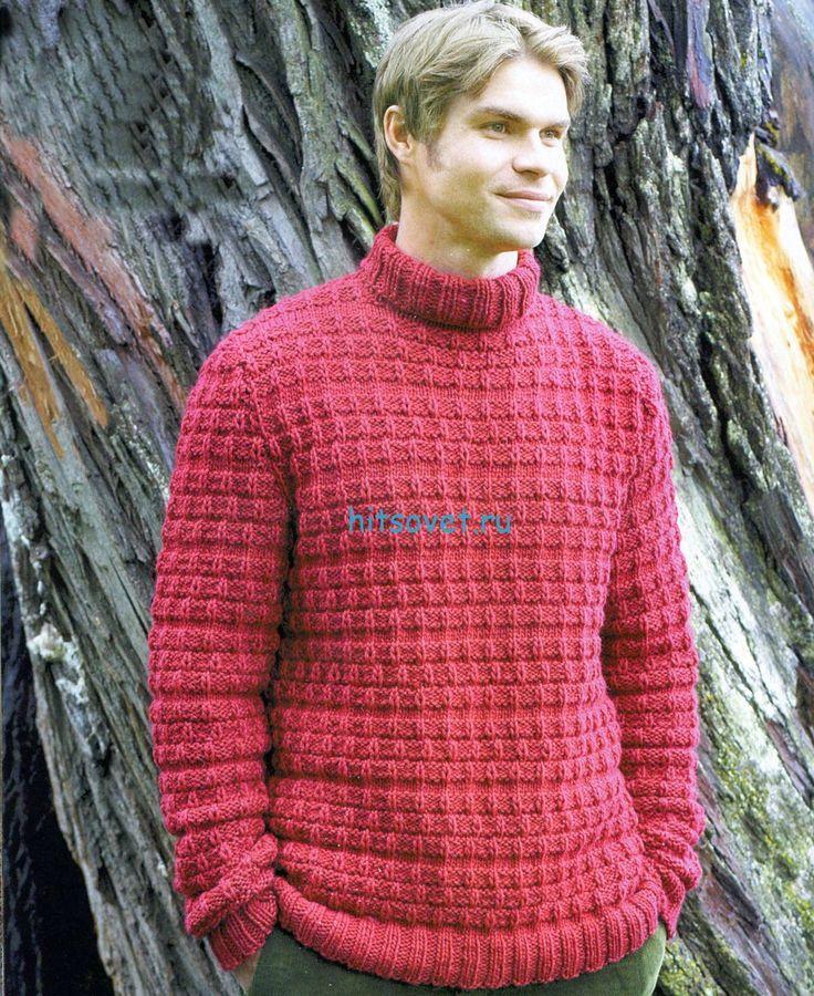 Мужской свитер спицами из пряжи Novita