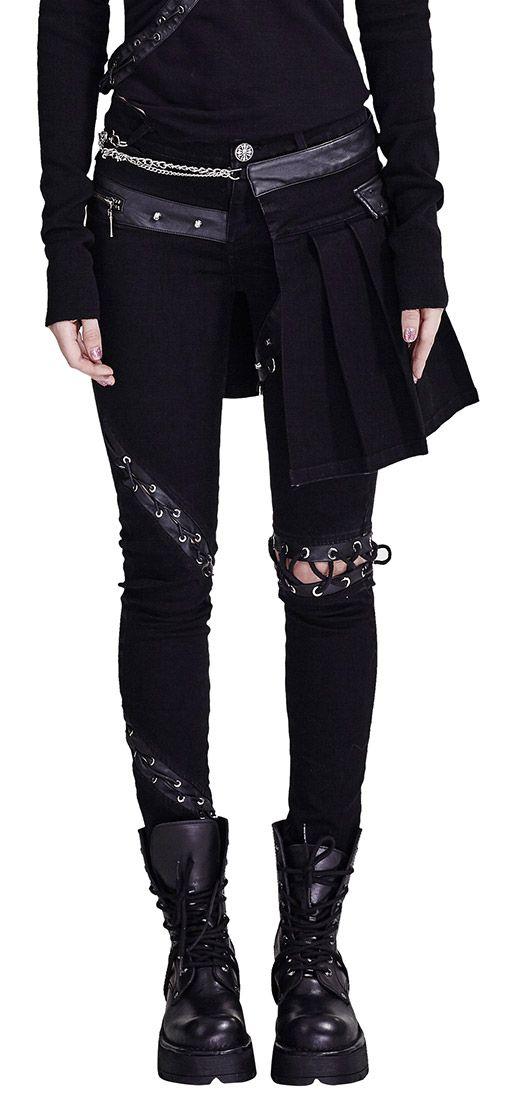 Pantalon noir asymetrique avec partie jupe original gothique punk > JAPAN ATTITUDE - PUNKR0165   Shop : www.japanattitude.fr