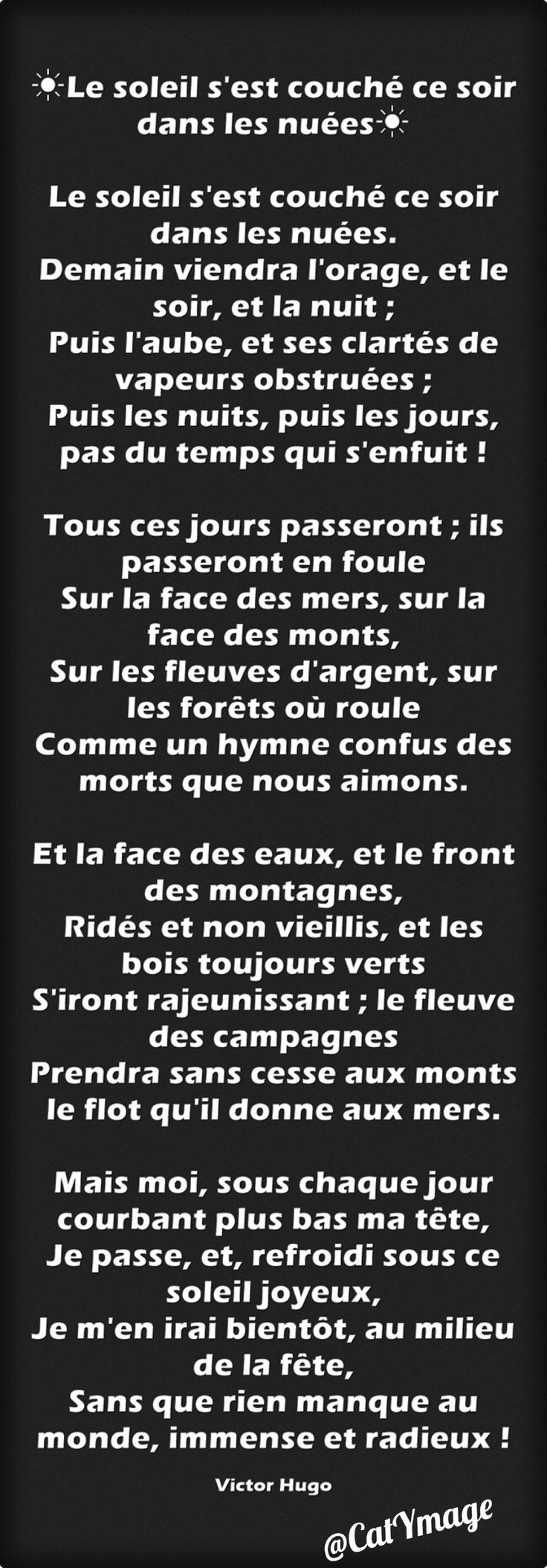 17 best images about po sies on pinterest souvenirs belle and pablo neruda - Soleil couchant victor hugo ...