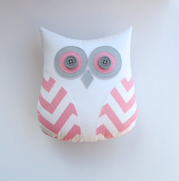 owl pillow, baby pink and white chevron owl, decorative pillow, pink pillow, pink and grey nursery decor, gift for her on Etsy, $36.00