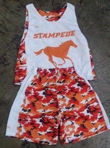 Orange Camouflage Lacrosse Uniforms - Orange Lax Shorts