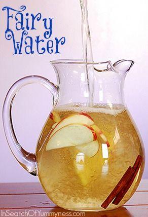 My interpretation of Padma Lakshmi's Fairy Water recipe. This one has green tea, apple slices and cinnamon | InSearchOfYummyness.com