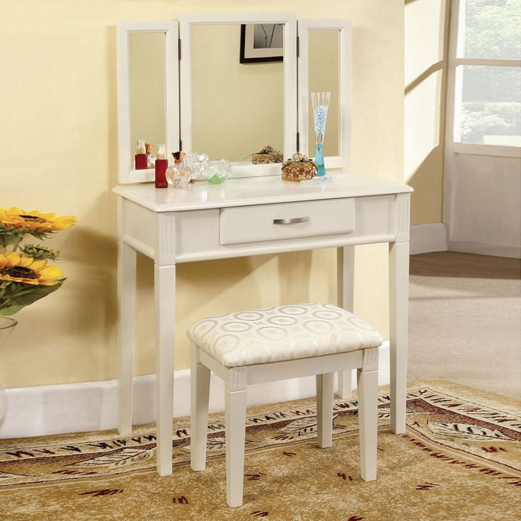 modern vanity table with mirror and bench. Hokku Designs Luisa Modern Vanity Set with Padded Stool and Mirror 44 best Sets images on Pinterest  Dressing tables