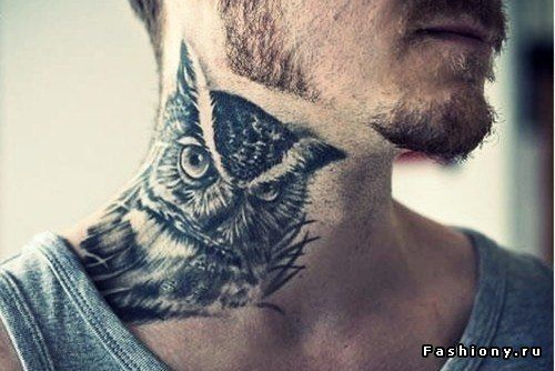 cool tattoo owl neck