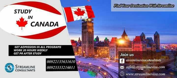#STUDYINCANADA  GET ADMISSION IN ALL PROGRAMS WORK 20 HOURS WEEKLY GET PR AFTER STUDY  Contact us : 00923333216011 / 0092-2135631610 website : www.streamlinevisa.com EMAIL : info@streamlinevisa.com #overseaseducationconsultants #studyabroadprogram #immigrationconsultants