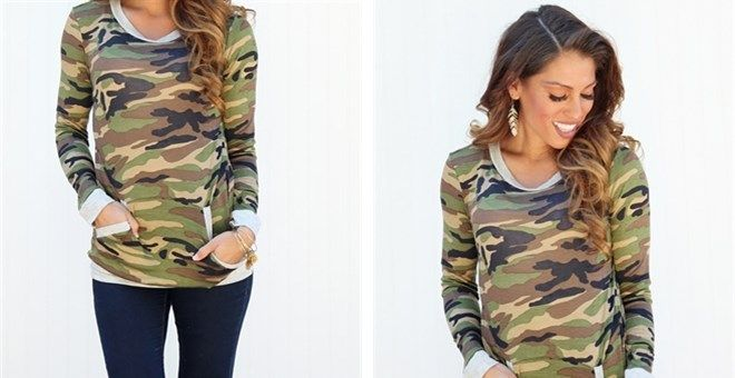 How cute is this camo sweatshirt?! Love the front pockets and the comfortable feel! Only $24.99!