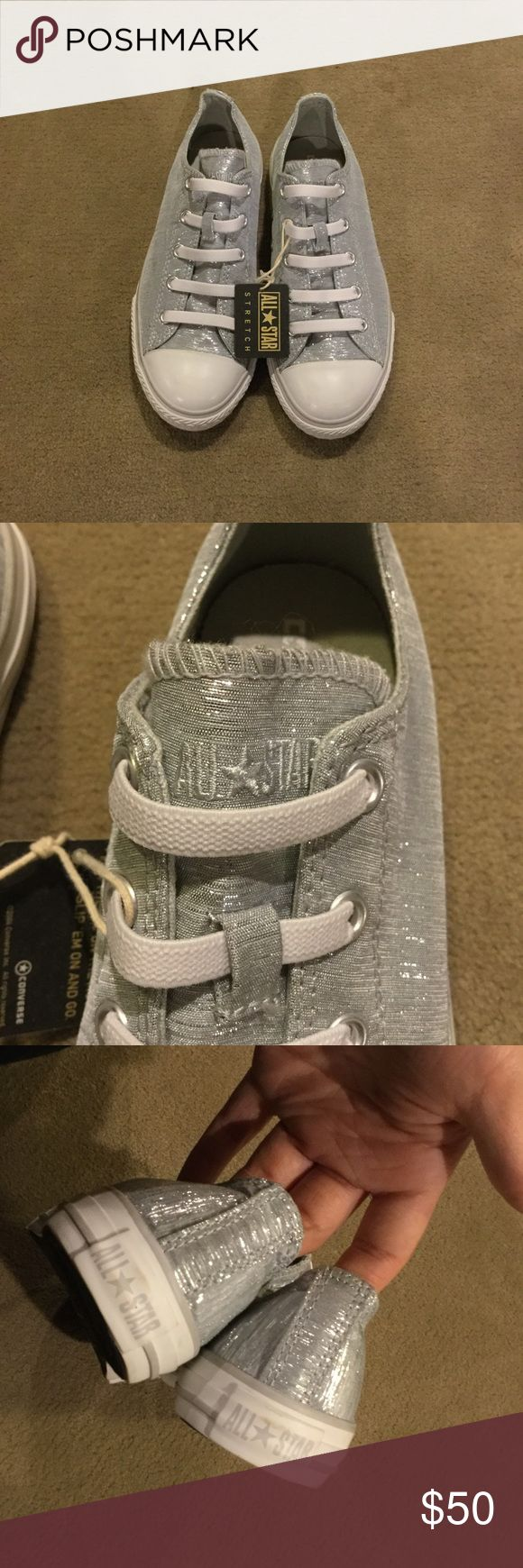 Silver Glitter Converse Slip Ons New with tag no box ; never worn ; sole says size 3 Converse Shoes Sneakers
